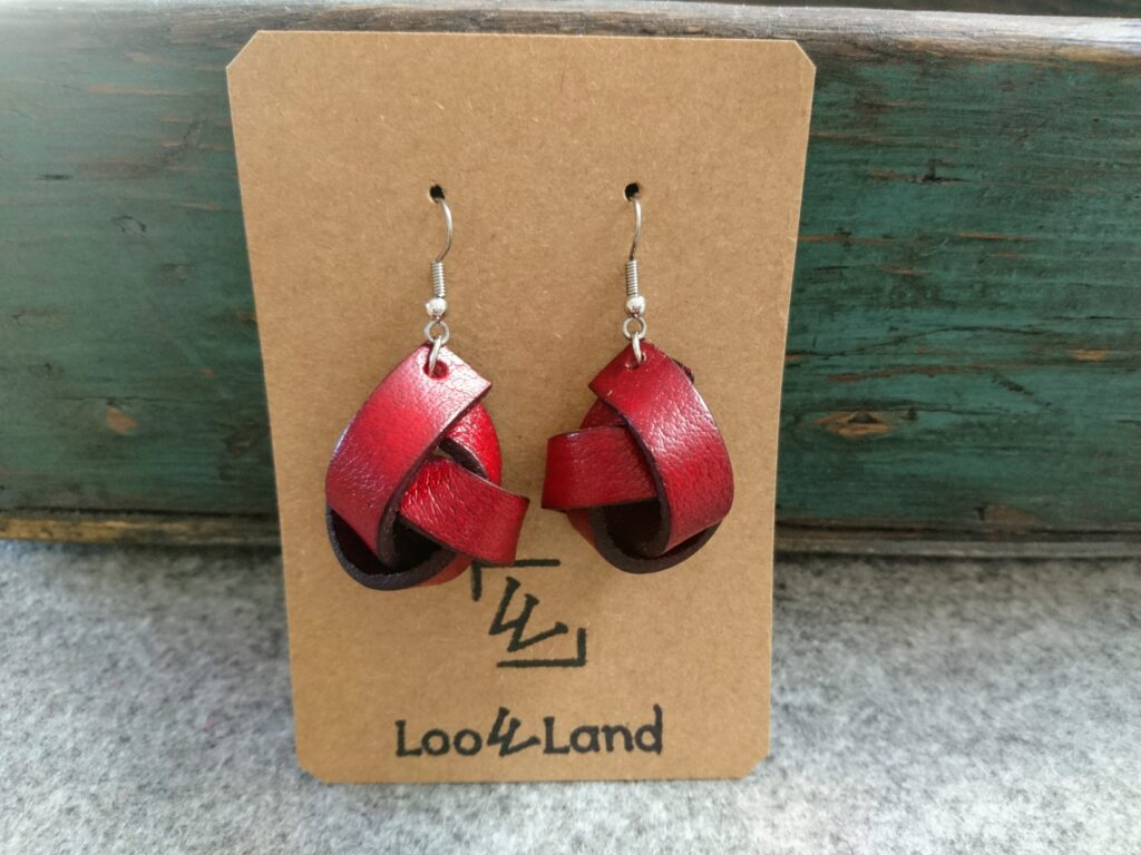 Red leather earrings Knots